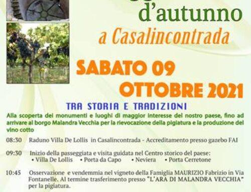 EVENTO ANNULLATO – Passeggiata d'Autunno a Casalincontrada il 9 ottobre